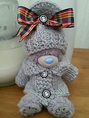 """HAND KNITTED TEDDY CLOTHES JACKET AND HAT 5""""- 6"""" TED/DOLL APPROX"""