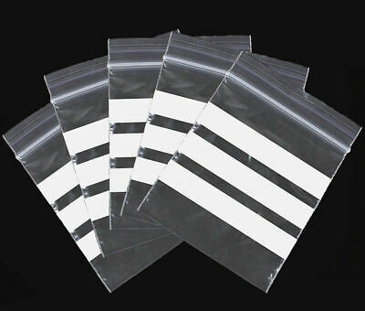 """500 x """"6 x 9"""" **WHITE PANEL**    Zip Resealable Plastic Grip Seal Bags"""