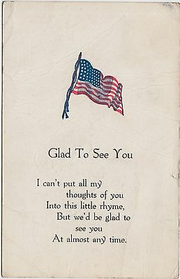 PATRIOTIC U.S.A. Postcard 1907 AMERICAN FLAG Glad to See You 171