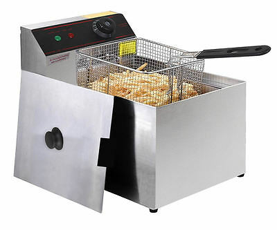 Commercial 10L 2500W Stainless Steel Electric Deep Fryer Basket Single Tank Chip