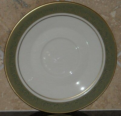 """FRANCISCAN MASTERPIECE CHINA """"ANTIQUE GREEN"""", EIGHT (8) SAUCERS (6.25""""),EMBOSSED"""