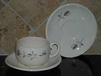 """FRANCISCAN """"DUET"""" CUPS (5) AND SAUCERS (10), UNUSED, PATTERN: 2 PINK FLOWERS, GR"""