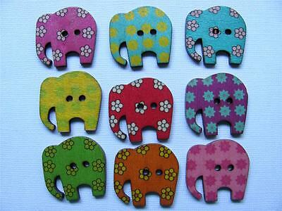 BB BUTTONS PRETTY ELEPHANTS pk of 10 wood mixed colours sewing craft animal