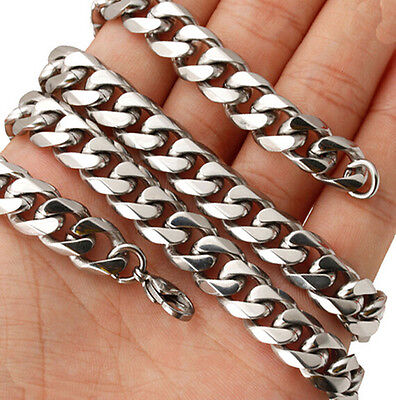 18-40'' 8mm Polished Stainless Steel Boy & Men Fashion Chain Link Curb Necklace