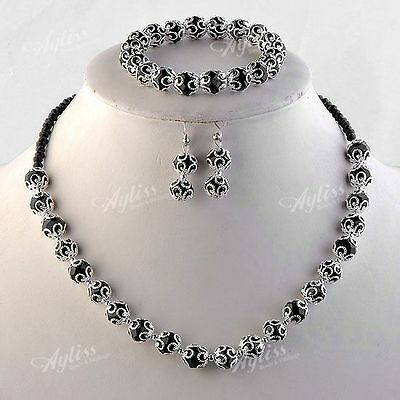 Black Faceted Crystal Glass Round Flower Beads Necklace + Bracelet + Earring