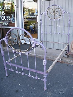 Antique Iron Bed Very Heavy Thick Castings Single Size with Rails Mountain Top