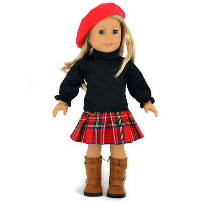 "New 3PC Red Hat+Black Blouse+Skirt Doll Clothes For 18"" American Girl Handmade"