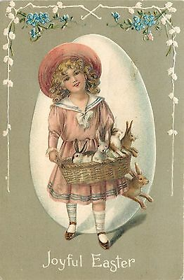 Easter~Victorian Curly Blonde Girl~Basket of Bunny Rabbits~Emboss~EAS~Germany