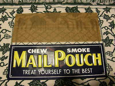 """Vintage """"CHEW SMOKE MAIL POUCH TOBACCO"""" Embossed Metal Tin Sign Old Stock"""