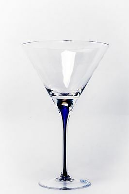 Romanian Set of 2 Martini Clear with Blue Stem Lead Free Crystal from GMG