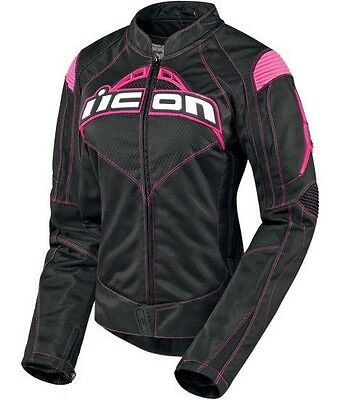Icon Contra womens black and pink motorcycle riding jacket