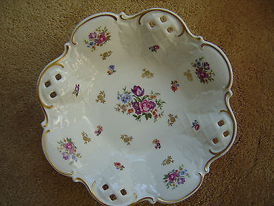Vintage~FINE CHINA Footed Bowl Made In GERMANY (G.D.R)~Marked(R)Under Crown~MINT