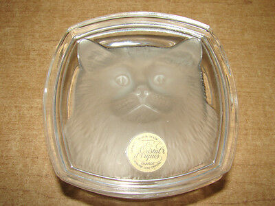 Cristal d'Arques Lead Crystal Cat Candy Dish / Trinket Box - Frosted Glass