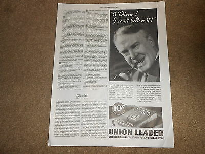 1933 vintage ad for Union Leader Pipe Tobacco