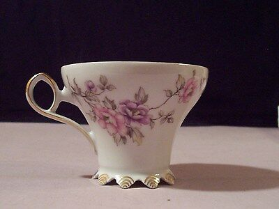 Mitterteich Bavaria Germany Porcelain Cup # 017 Pink & Purple Flowers