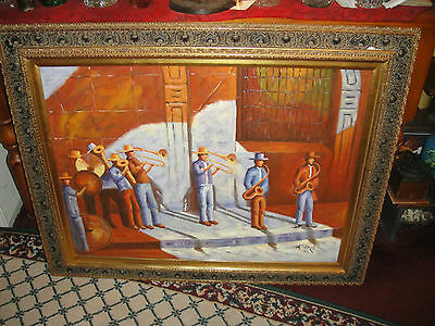 Superb Oil Painting On Canvas Of Mexican Or Spanish Street Band-Signed H. Zonj?