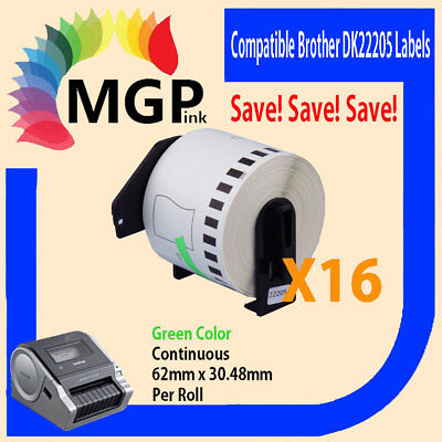 16 Compatible for Brother DK-22205 Continuous Green Roll -62mm x 30.48m QL570