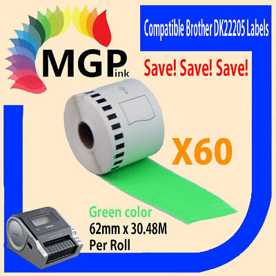 60 Refill only Compatible for Brother DK-22205 Continuous Green Roll 62mmx30.48m