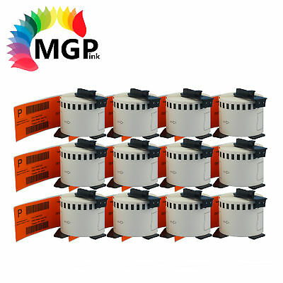 12 Compatible for Brother DK-22205 Continuous Orange Roll -62mm x 30.48m QL570
