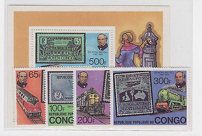 Congo Trains/Treni stamps + BF