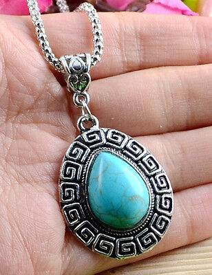 New Classical Natural hot Turquoise cute tibet silver Necklace+Pendant H-67