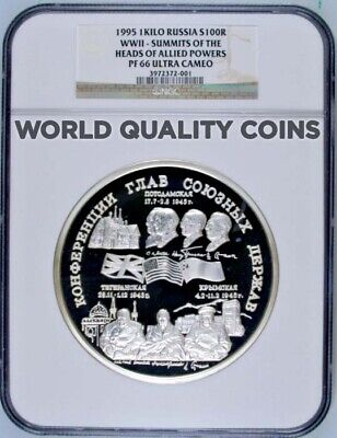Russia 1995 Silver 1 Kilo kg Coin 100 Rouble WWII Allied Commanders NGC PF66
