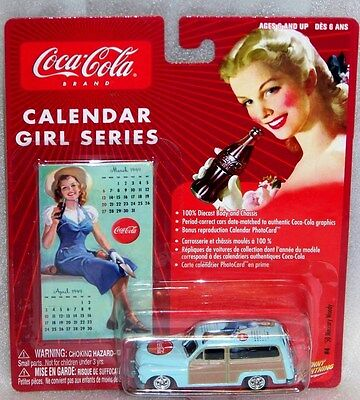 CocaCola Johnny Lightning Calendar Girl Series #4 '50 Mercury Woody 1:64 scale