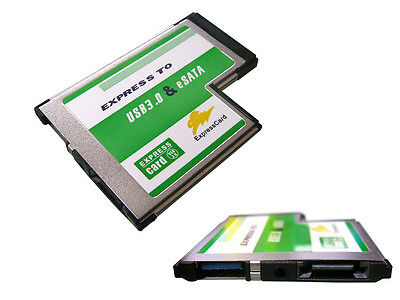 Carte EXPRESSCARD 54mm USB3.0 + eSATA 3.0 - Affleurante FLUSH MOUNT - ASM
