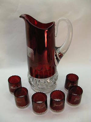 Antique Eapg Glass Kings Crown Pitcher 6 Glasses Tumblers Ruby Flashed Elks Expo