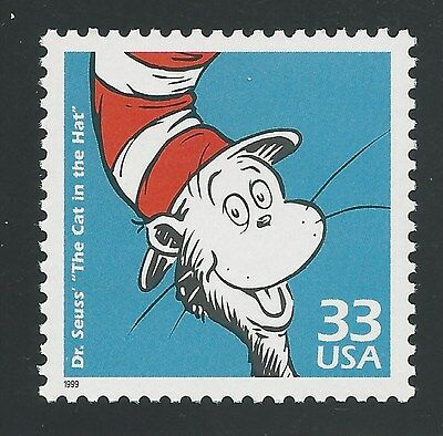 The Cat in the Hat Dr. Seuss Theodor Geisel Book Commemorative US Stamp MINT NH!