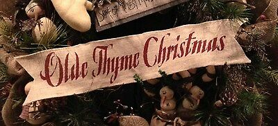 Olde Primitive Christmas Wired Burlap Ribbon Banner Ornament Wreath Garland BR