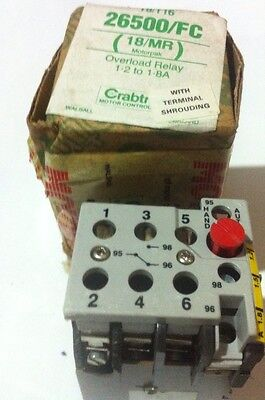 Crabtree T8 /T-16 Overload Relay 1.2-1.8 Amp Use With Starter Mounting  26500/FC
