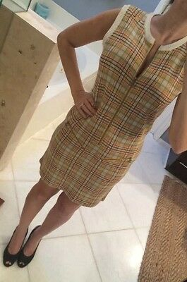 Vintage 80s M PUMA Plaid Knit Zipper Dress M Retro Punk