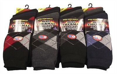 12 Pairs Of  Mens Argyle Thermal Socks, Thick Warm Work Boot Socks Size 6-11