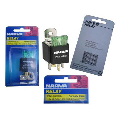 Narva Relay 12 Volt 4 Pin 30 Amp With 30 Amp Fuse Suit Lights Pumps 68060Bl X5
