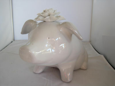 Vintage Pols Potten Heavy White Porcelain China Pig With Flower Piggy Bank