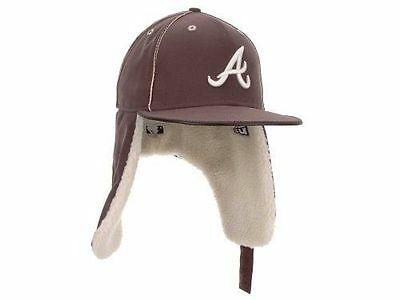Atlanta Braves MLB Dabu 11 Dogear Ear Flap New Era Brown Fitted Baseball  Hat Cap d475027f7608
