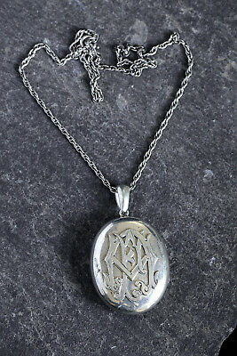 Antique Victorian English Silver Double Locket Pendant & Necklace Initials 'Af'