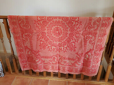 Antique Red & Tan Throw Blanket American Coverlet Wool Stitched Woven