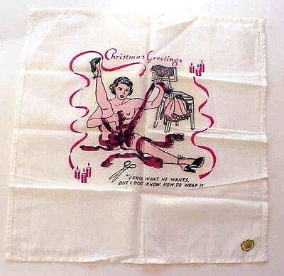 Vintage Christmas Handkerchief Hankie Naughty or Risque
