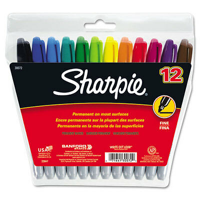 BTGO Sharpie Fine Point Permanent Markers, 12 Assorted Color Markers  30072