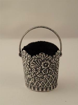 *NEW ANTIQUE STYLE SILVER BASKET PIN CUSHION*