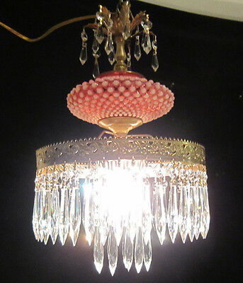 1of 2 Fenton Cranberry brass Glass Crystal SWAG plugin Lamp Chandelier Vintage