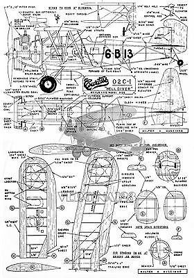"""Model airplane Plans CONTROL LINE  24""""  .099-.09 Scale 1:16 CURTISS  02C- I plan"""