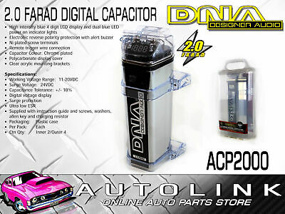 Dna 2.0 Farad Digital Capacitor Chrome Plated Body With Blue 4 Digit Display