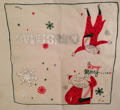 Vintage signed Welcher Christmas Hankie A Merry Merry Christmas!