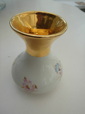 "Rare Collectable Prinknash Pottery Gold Vase Blue & Pink Flowers 4""(100mm) high"