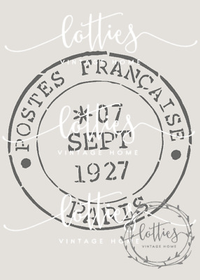 POSTAL STAMP FRENCH A5 STENCIL - For Furniture Fabric Cards Vintage ❤ 190 MYLAR
