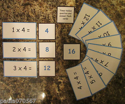 Times tables Question and answer flash cards 2 - 12 x tables, 10cm x 5cm & 5x5cm