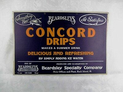 Vintage 1940s Store Display Sign - Beardsley's Concord Drips Drink or Soda